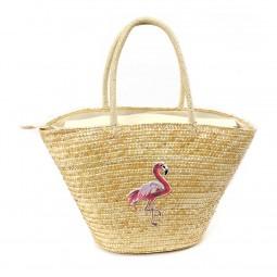Stroh-Tasche Flamingo